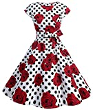 TINTAO Womens 50s Style Polka Dot Cocktail Party Rockabilly Vintage Dress with Cap Sleeve D107 (Rose+dots, L)