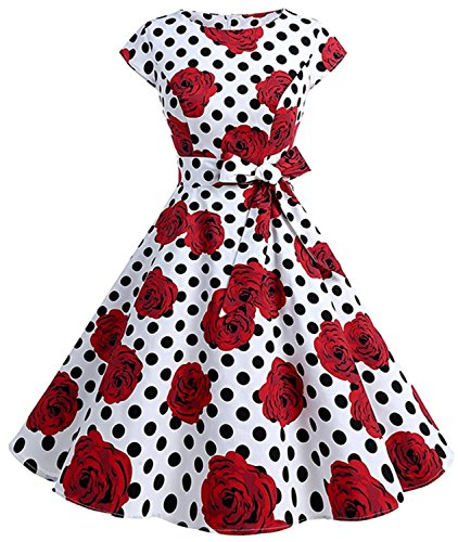 Womens 1950s Vintage Cap Sleeve Polka Dot Rockabilly Swing Dresses C70 (wht Rose dot, L)