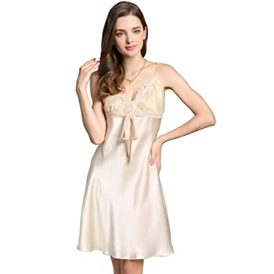 ea2ff70a8 Alysee Women Pure Mulberry Silk Slip Dress Sleepskirt Sleepwear Lady  Lingerie Beige L