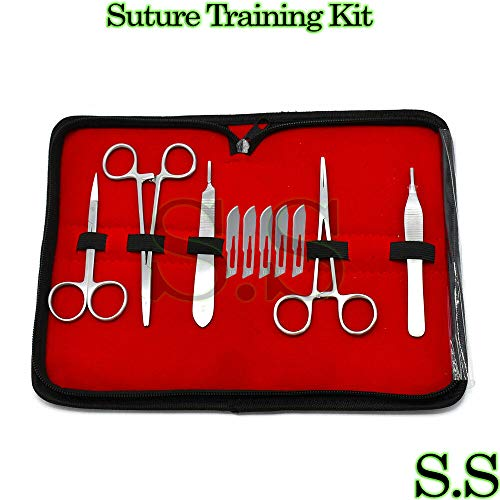 (Stainless Steel Training Suture Tool Kit Set Scalpel Handle With Blade 10 Piece)
