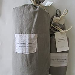 Restoration Hardware STONEWASHED COTTON LINEN King Duvet Cover & Two Euro Shams~Fog~