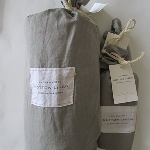 Restoration Hardware Stonewashed Cotton Linen King Duvet Cover & Two Euro Shams~Fog~ (Restoration Duvet King Hardware)