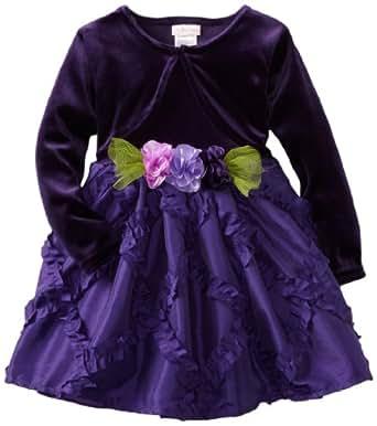 Youngland Little Girls' Mock Long Sleeve Diamond Pattern Skirt Dress, Purple, 3T