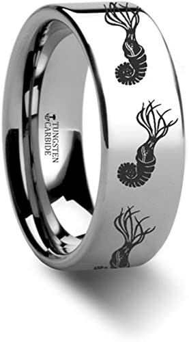 Thorsten Dinosaur Ring Ammonite Prehistoric Paleo Flat Polished Tungsten Ring 12mm Wide Wedding Band from Roy Rose Jewelry