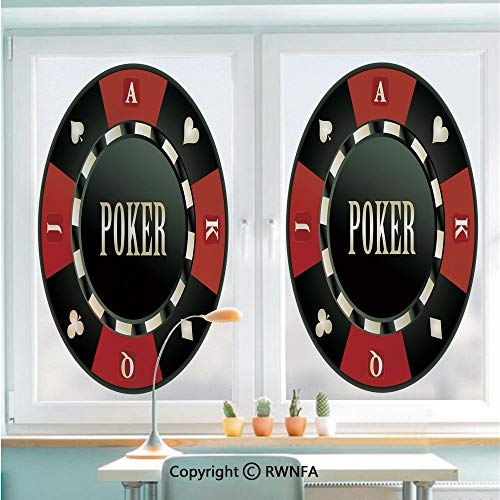 Decorative Window Films Kitchen Glass Sticker Casino Chip with Poker Word in Center Rich Icon Card Suits Decorative Waterproof Anti-UV for Home and Office 22.8