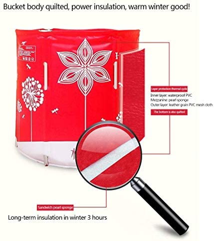 折りたたみ浴槽大人の浴槽インフレータブル浴槽肥厚浴槽革の質感合金リフト内蔵クッションフルボディキルティング (Color : RED, Size : 70*70CM)