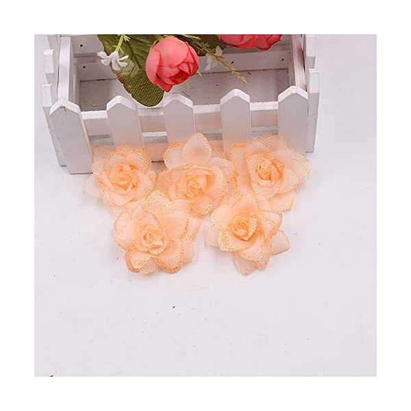 YYU DIY Artificial Flower Roses Wedding Decoration Party Decoration Festive Decoration Home Decoration Spray Powder Flower Heads 30PCS 5CM (Orange)