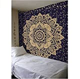 BLEUM CADE Mandala Tapestry Wall Hanging,Wall Tapestry Bohemian Tapestry Indian Traditional Hippie Tapestry,Flower Psychedelic Wall Tapestry Indian Wall Decor(M-51.2''×59.1'', SG319)