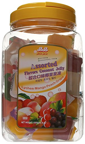 Jin Jin Assorted Fruit Coconut Candy Lychee Mango Peach and Grape Jelly Cups 52.9 Ounce Container - Mango Jelly