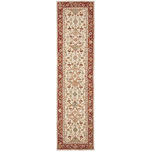 Safavieh Chelsea Collection HK751C Hand-Hooked Ivory and Red Premium Wool Runner (2'6