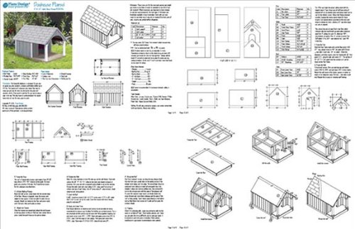Small Dog House Project Plans, Gable Roof Style with Porch, Pet Size ...