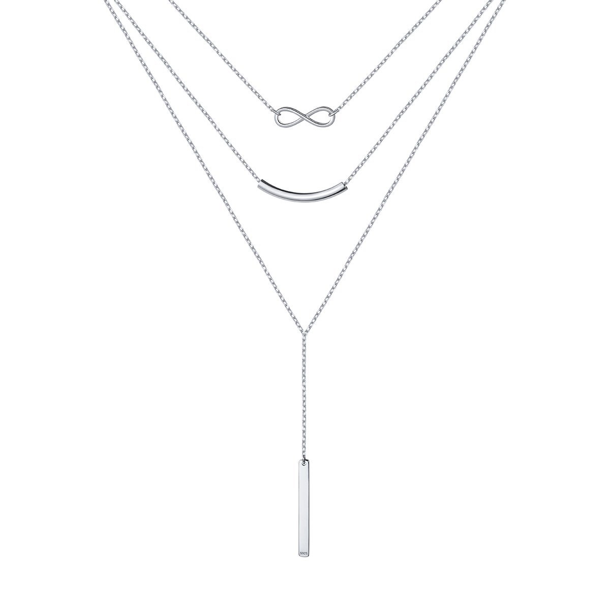 S925 Sterling Silver Multi Layered Triple Chain Choker Necklace Infinity and Bar Charm 16+2''
