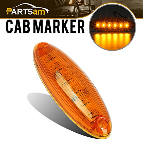 Partsam 1x 6-LED Amber Cab Marker Roof Top Clearance Light Lamp for Freightliner Cascadia