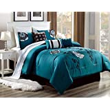 Tuweep 3PC Alex #3 Teal Brown White Flowers Embroidered Duvet Comforter Bed Cover Set   Collection COMF-18201983