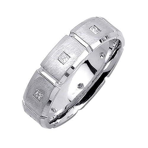 0.20 ct diamante Natural princesa anillos de boda para hombre 14 K oro blanco para hombre