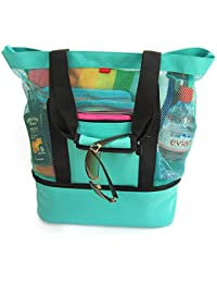 Aruba Beach Bag - Beach Tote w/ Zipper & Insulated Cooler (Turquoise) Waterproof Beach Bag, Mesh Beach Tote, Beach Gear, Beach Essentials, Pool Bag,