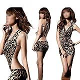 New Stylish Sexy Women's Deep V Neck One Piece Lingerie Leopard Print Backless Dressing One Size Sleepwear Nightwear One Size Fits P, XS, S / US 0-6