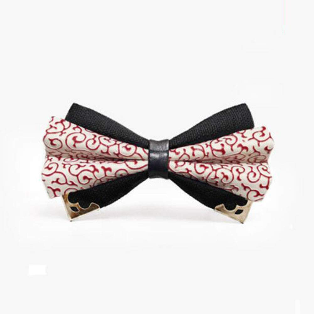 FH Double-Layer Retro Texture PU Inlaid Groom Groomsman Official Occasion Mens Bow Tie Gift Box Color : H