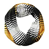 Tickled Pink Women's Gameday Stripe T-Shirt Infinity Circle, Soft Lightweight College Scarf, Black/Athletic Gold, 15''x62''