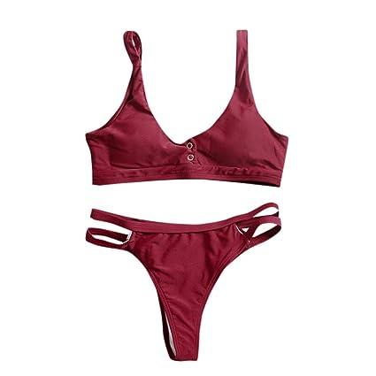 Tops de Bikini Conjunto Las Mujeres Empujan hacia Arriba El Sujetador Adornado Bandeau Bikini de Cintura