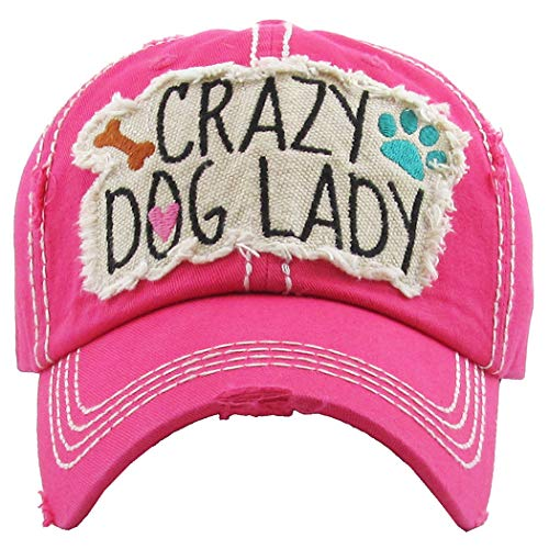 H-212-CDL24 Distressed Baseball Cap Vintage Dad Hat - Crazy Dog Lady (Hot Pink) ()