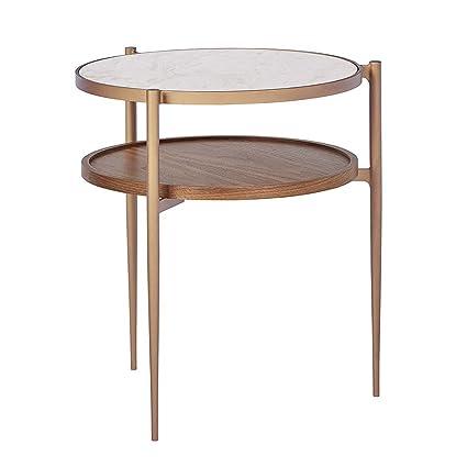 Tavolino In Ottone.Ynn Tavolino In Metallo Con Ripiano Doppio In Marmo E Legno