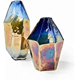 Tozai Midnight Set of 2 Multi-faceted Vases