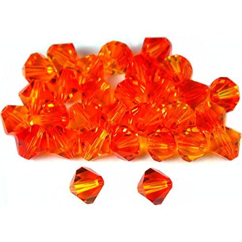 30 Fire Opal Bicone Swarovski Crystal Beads 5301 6mm (5301 Bicone Crystal Beads)