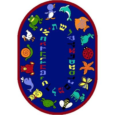 Joy Carpets Kid Essentials Early Childhood Oval Hebrew Alphabet ABC Animals Rug, Blue, 5'4'' x 7'8'' by Joy Carpets