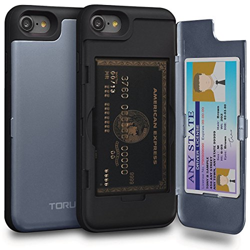 TORU CX PRO iPhone 8 Wallet Case Blue with Hidden Credit Card Holder ID Slot Hard Cover & Mirror for iPhone 8 / iPhone 7 - Orchid Gray