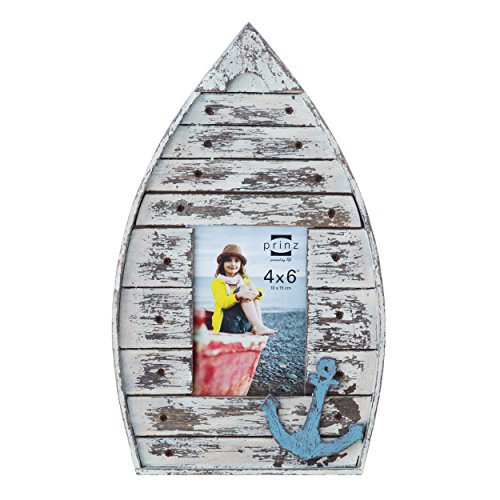 Frame Blue Prince (PRINZ Boat Shaped Wood Frame in Distressed White Finish with Blue Anchor Attachment, 4 by 6-Inch)