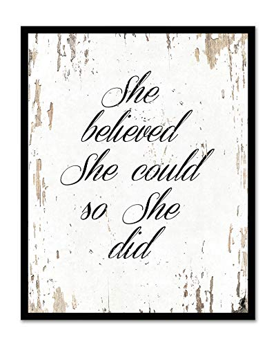 She Believed She Could So She Did - Framed - Quote Motivational Wall Art Canvas Print Home Decor, Black Real Wood Frame, White, ()