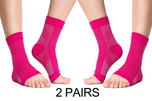 VakerZon 2 Pair Compression Ankle Brace Foot Sleeve-Relieves Achilles Tendonitis,Foot Sock with Arch Support Reduces Swelling & Heel Spur Pain Injury Recovery for Sports (S/M, Pink)