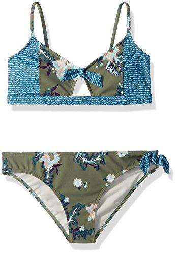 Roxy Big Girls' Surf The Desert Athletic Swimsuit Set, Olive Arizona Rising, 7 ()