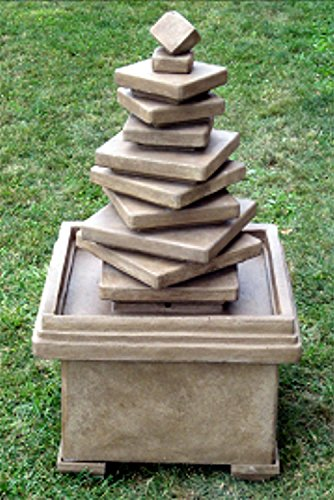(5' Cascading Concrete Stacked Slate Square Outdoor Garden Water Fountain)