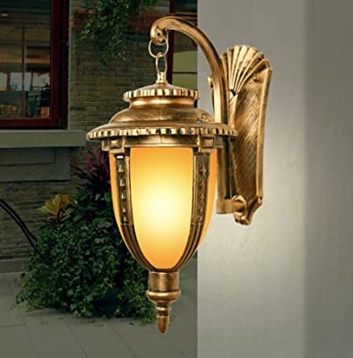 CGJDZMD Wall Sconce Classic Brass Color Rustic Waterproof Traditional Outdoor Wall Light Hallway Winter Garden Balcony Porch Wall Lamp Glass Lantern Wall Lantern, E27 Socket