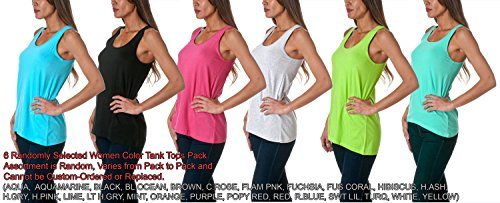 Sofra Women's Loose Fit Tank Top Relaxed Flowy Asst (Large, Asst 6 Pk (Loose Pack)