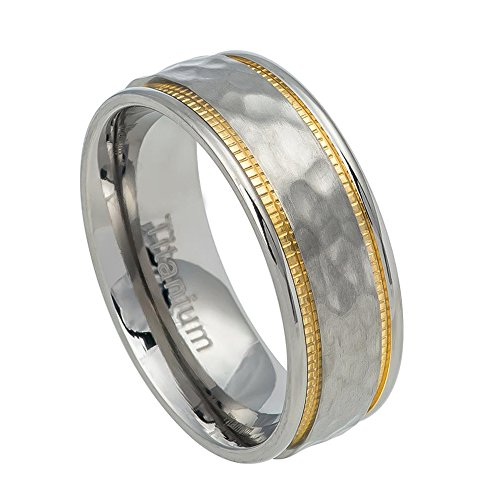 7.5mm Titanium Yellow IP Hammered Center Milgrain Grooves Wedding Band Ring For Men Or Ladies