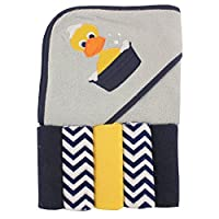 Luvable Friends Hooded Towel and 5 Washcloths, Duck