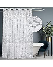 UDRIDAY Extra Long Shower Curtain Liner 72x 86 inch,Thick EVA 9 Gauge Transparent 3D Cobblestone Waterproof Shower Curtain for Bathroom Heavy Duty with 5 Magnets,12 Hooks