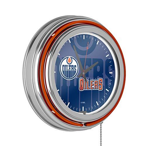 NHL Chrome Double Rung Neon Clock - Watermark - Edmonton Oilers (Furniture Edmonton Clearance)