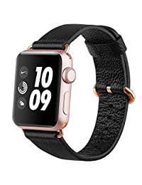 Apple Watch band 38mm, FashionAids Lichi Calf Leather iwatch strap Replacement Band with Golden Stainless Metal Clasp for Apple Watch Series 0 1 2 and Version 2015 2016 Black-38mm