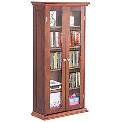 "COLIBROX-44.5"" Wood Media Storage Cabinet CD DVD Shelves Tower Glass Doors Walnut. solid wood media storage cabinet. solid wood dvd storage unit. media storage cabinet with doors.wooden cd cabinet."