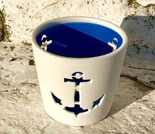 White Bisque Porcelain (The Beach Chic Anchor Wind-lights, Set of 2, White Bisque Porcelain, Deep Turquoise Blue Hurricane, Nautical Coastal Style, 4 1/4 and 2 3/4 Inches Tall, By Whole House Worlds)