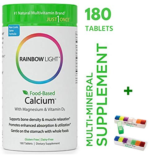 Rainbow Light - Food-Based Calcium with Magnesium & 500 IU of Vitamin D3 Supplement (180 Tablets + Pill Box) - Supports Bone Density & Muscle Relaxation, Promotes Enhanced Absorption & Utilization