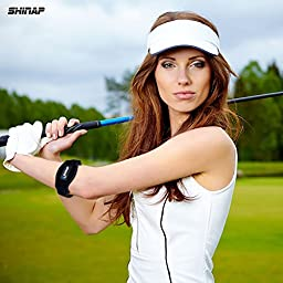 2-Pack Tennis Elbow brace with Compression Pad by SHINAP - Best Tennis and Golfers Elbow Strap Band Support - Includes wristband and 2 handy storage bags.