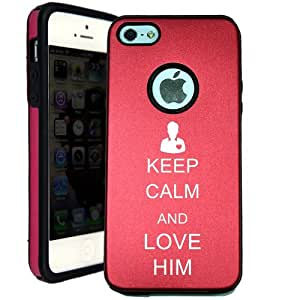 SudysAccessories Keep Calm And Love Him iPhone 5 Case iPhone 5G Case - MetalTouch Red Aluminium Shell With Silicone Inner Protective Designer Case