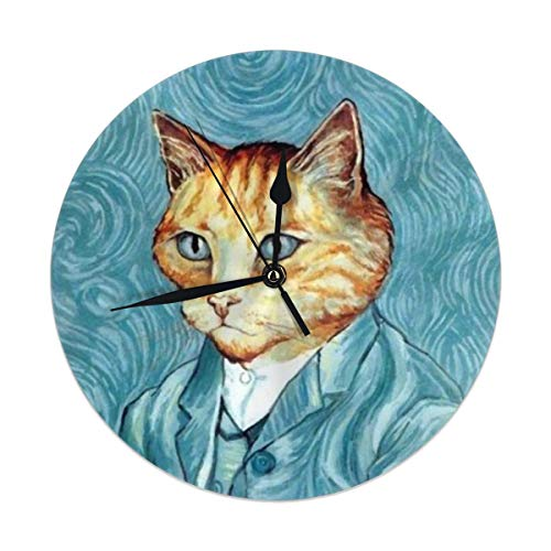 Fullboxy Self Portrait of Cat Art Wall Clock Modern Design Clock Non Ticking Silent Round Clock for Office Work Place Decor ()