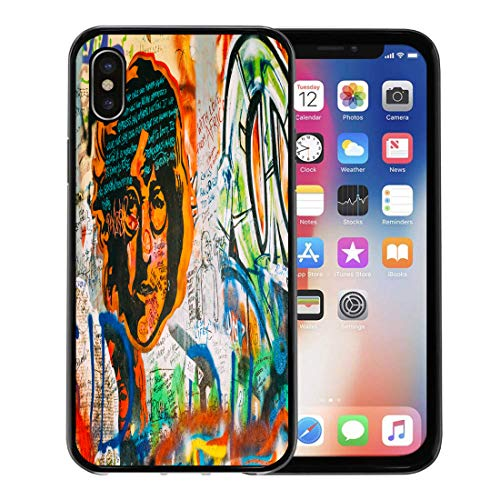 Semtomn Phone Case for Apple iPhone Xs case,Prague Czech Republic October 10 Famous Place in The John Lennon Wall is Filled Inspired Graffiti for iPhone X Case,Rubber Border Protective Case,Black ()