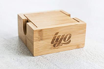 5 Set Iyo Premium Bamboo Coasters With Holder Arts Crafts Sewing